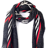 Large Stripes With Red Lines Pattern Black Cotton Scarf/Autumn Winter Summer Scarf/Scarves Women/Gifts For Her/Gifts For Mom/Birthday Gifts