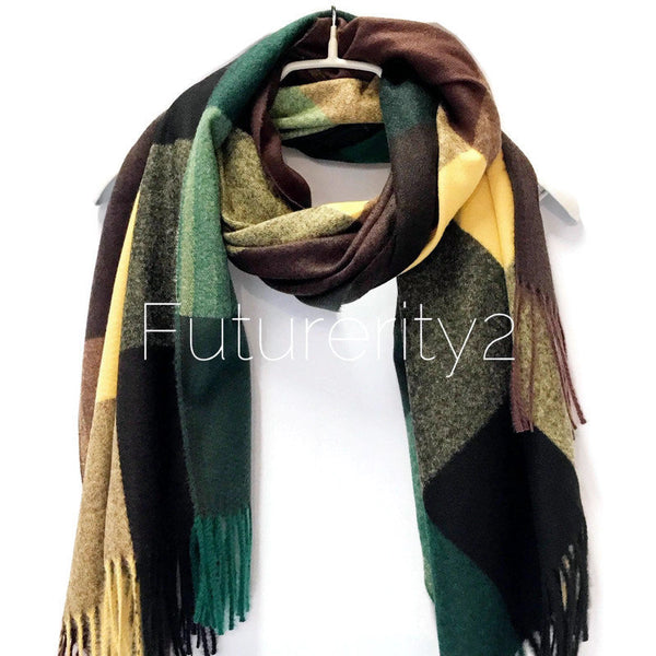 Blocks Pattern Green Yellow Cashmere Scarf/Winter Scarf/Autumn Scarf/Gifts For Mother/Gifts For Her/Scarves Women/Christmas Birthday Gifts