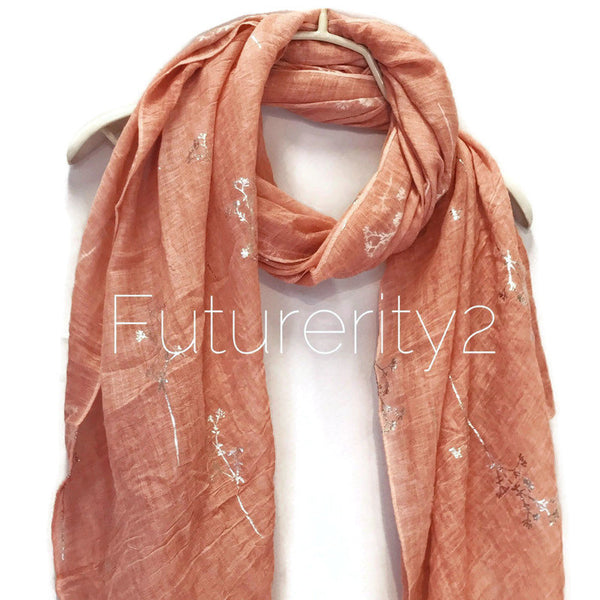 Silver Foil Leafs Branch Coral Pink Cotton Scarf/Spring Summer Autumn Scarf/Scarves Women/Gifts For Her/Gifts For Mom/Christmas Gifts