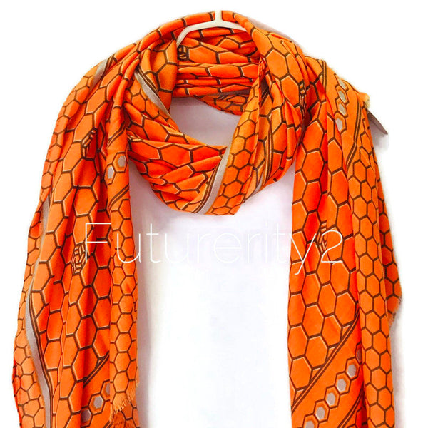 Honeycombs Pattern With Grey Trim Orange Cotton Scarf/Autumn Winter Scarf/Summer Scarf/Scarves For Women/Gifts For Her/Gifts For Mom