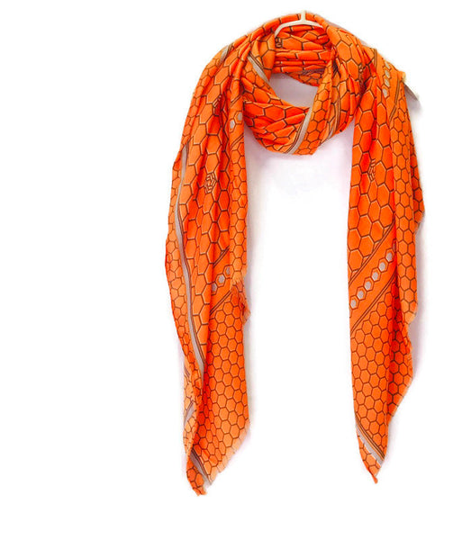 Honeycombs Pattern With Grey Trim Orange Cotton Scarf