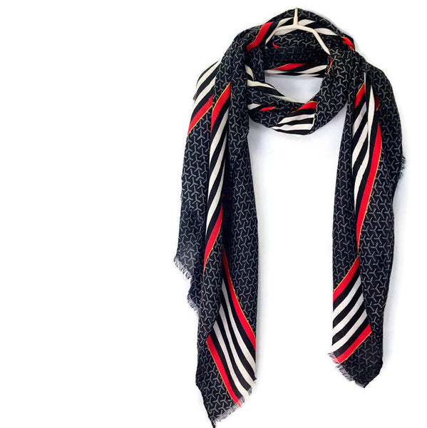 Large Stripes With Red Lines Pattern Black Cotton Scarf