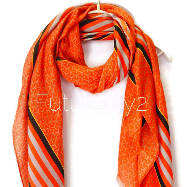 Large Stripes With Black Lines Pattern Orange Cotton Scarf/Autumn Winter Summer Scarf/Scarves Women/Gifts For Her/Gifts For Mom