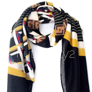 Modern Geometric Pattern Yellow Black Cotton Scarf/Spring Autumn Winter Scarf/Scarves Women/Gifts For Her/Gifts For Mother/Christmas Gifts