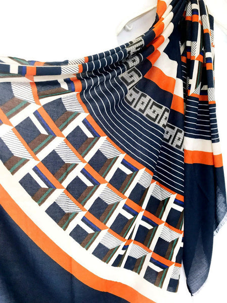 Modern Geometric Pattern Blue Orange Cotton Scarf/Spring Autumn Winter Scarf/Scarves Women/Gifts For Her/Gifts For Mother/Christmas Gifts