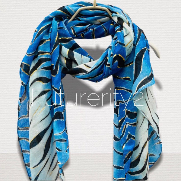 Zebra Print With Gold Accents Blue Cotton Scarf/Spring Summer Autumn Scarf/Gifts For Her/Gifts For Mother/Scarves For Women/Christmas Gifts