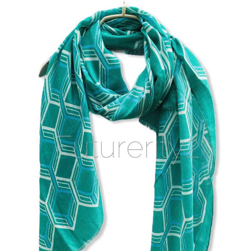 Large Honeycombs Pattern Aqua Blue Cotton Scarf
