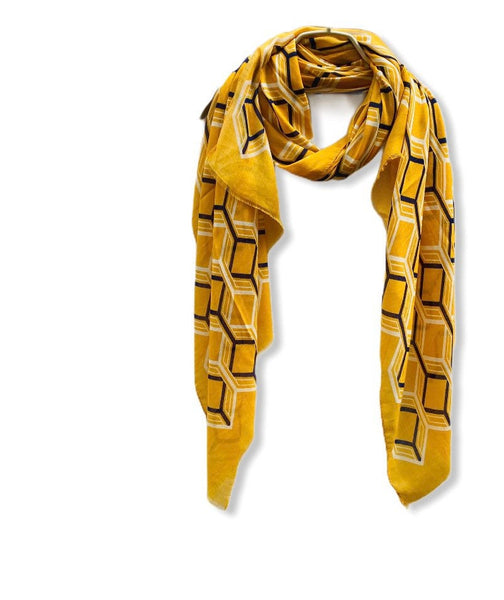 Large Honeycombs Pattern Mustard Yellow Cotton Scarf
