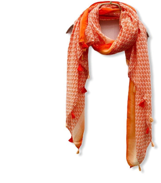 Small Vectors Of Leaves With Tassels Orange Cotton Scarf/Spring Summer Scarf/Gifts For Mother/Gifts For Her/Scarves For Women/Birthday Gifts
