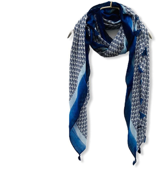 Small Vectors Of Leaves With Tassels Blue Cotton Scarf/Spring Summer Scarf/Gifts For Mother/Gifts For Her/Scarves For Women/Birthday Gifts