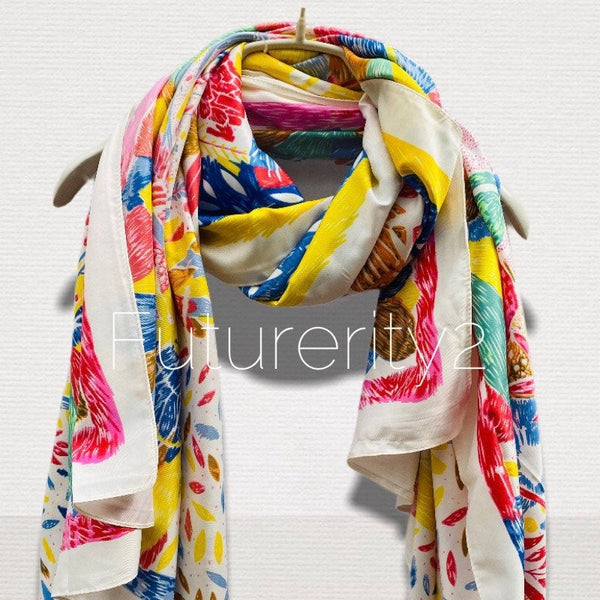 Sketched Tropical Flowers Silk Cotton Scarf with Pink Trim Off White Scarf