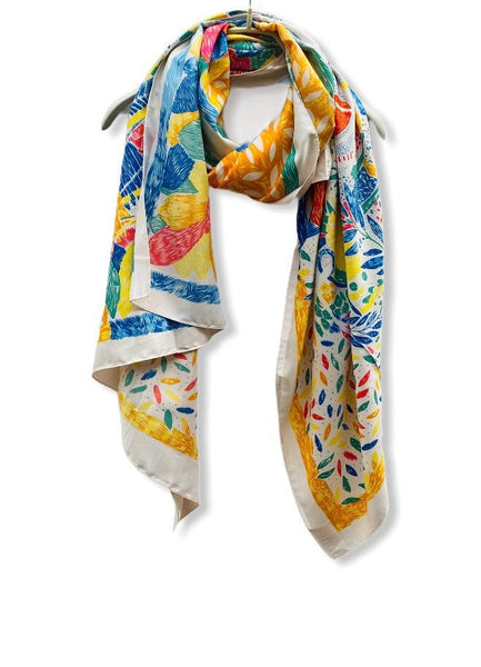 Sketched Tropical Flowers Silk Cotton Scarf With Blue Trim Off White Scarf/Spring Summer Scarf/Gifts For Her/Gifts For Mother/Birthday Gifts