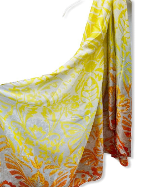 Two Toned Rustic Flowers Pattern Yellow Orange Silk Scarf/Spring Summer Scarf/Gifts For Mother/Gifts For Her/Scarves For Women/Birthday Gift