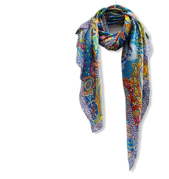 Multicoloured Paisley Print Blue Silk Scarf/Spring Summer Scarf/Gifts For Her/Scarves Women/Gifts For Her/Birthday Gifts/Christmas Gifts