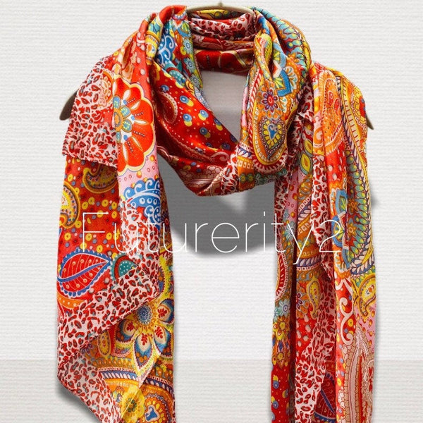 Multicoloured Paisley Print Red Silk Scarf/Spring Summer Scarf/Gifts For Her/Scarves Women/Gifts For Her/Birthday Gifts/Christmas Gifts