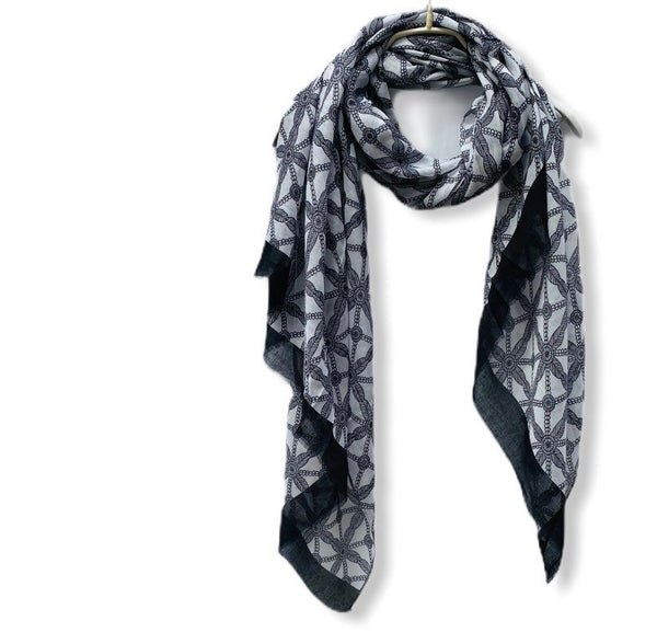 Lattice Print With Black Trim Black Cotton Scarf/Spring Summer Autumn Scarf/Gifts For Her/Gifts For Mother/Scarves Women/Birthday Gifts