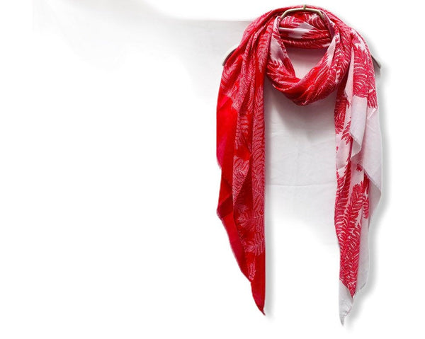 Two Toned Fern leafs Print Red White Cotton Scarf/Spring Summer Autumn Scarf/Gifts For Mother/Gifts For Her/Scarves Women/Birthday Gifts