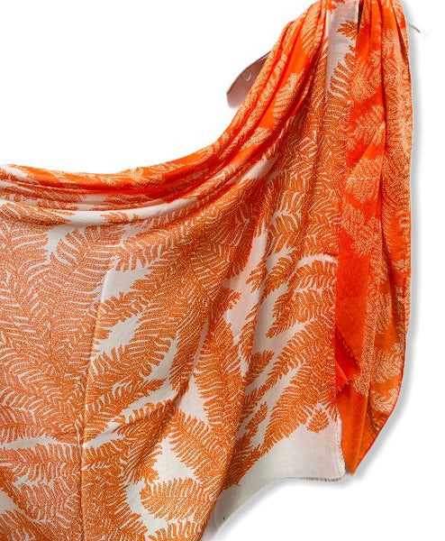Two Toned Fern leafs Print Orange White Cotton Scarf/Spring Summer Autumn Scarf/Gifts For Mother/Gifts For Her/Scarves Women/Birthday Gifts