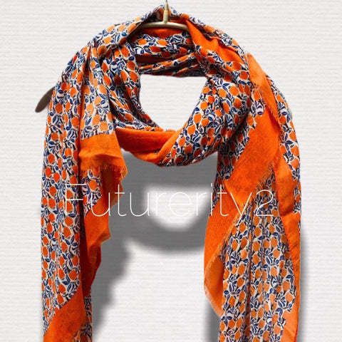 Small Seamless Tulips Pattern With Orange Trim Cotton Scarf/Spring Summer Autumn Scarf/Gifts For Mother/Gifts For Her/Birthday Gifts