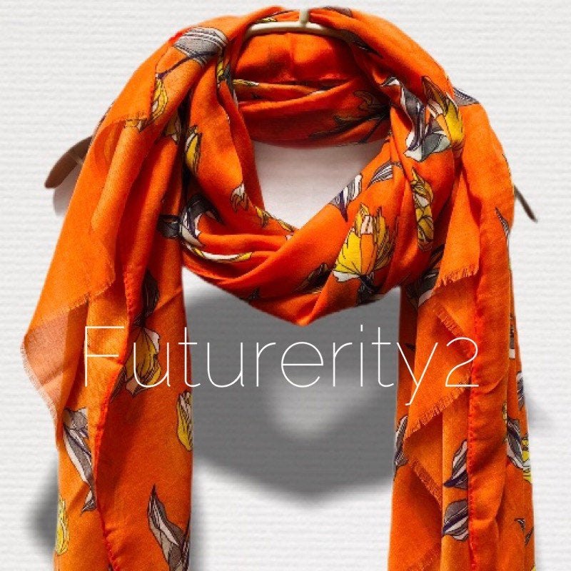 Sketched Tulips Flower Orange Cotton Scarf