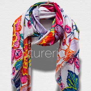 Sketched Huge Tropical Flowers Cotton White Scarf/Spring Summer Autumn Scarf/Gifts For Her/Gifts For Mother/Birthday Gifts/Christmas Gifts