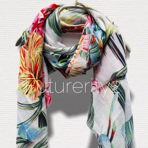 Aloha Hawaiian Flowers White Cotton Scarf