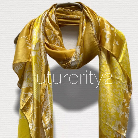 Japanese Kimono Florals Print Yellow Silk Scarf/Spring Summer Autumn Scarf/Scarves Women/Gifts For Her Birthday/Gifts For Mom