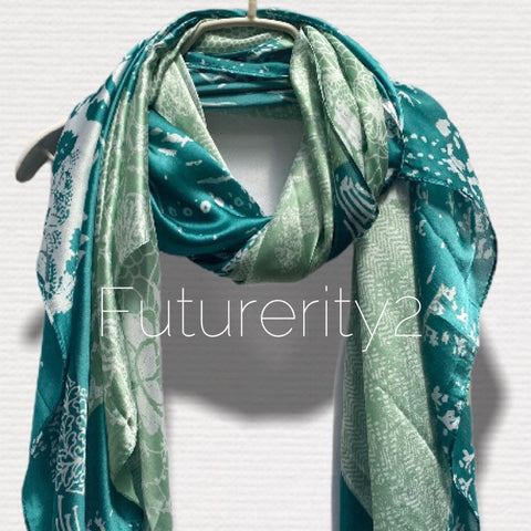 Japanese Kimono Florals Print Green Silk Scarf/Spring Summer Autumn Scarf/Scarves Women/Gifts For Her Birthday/Gifts For Mom
