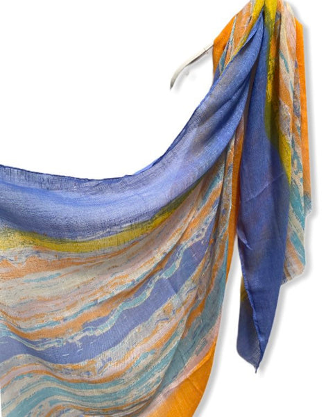 Watercolour Brush Strokes Blue Orange Cotton Scarf/Scarves Women/Gifts For Mom/Spring Summer Scarf/Gifts For Her Birthday/Christmas Gifts