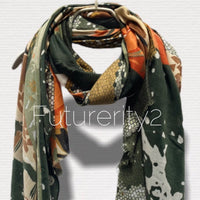 Florals Oriental Print Olive Green Cotton Scarf/Scarves Women/Spring Summer Autumn Scarf/Gifts For Mom/Gifts For Her Birthday/Christmas Gift
