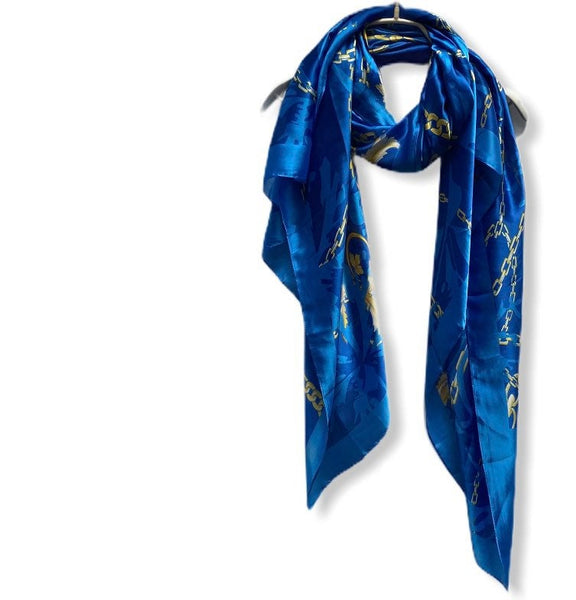 Chains Pattern Metallic Blue Silk Scarf/Spring Summer Autumn Scarf/Women Scarves/Gifts For Mom/Gifts For Her Birthday/Christmas Gifts