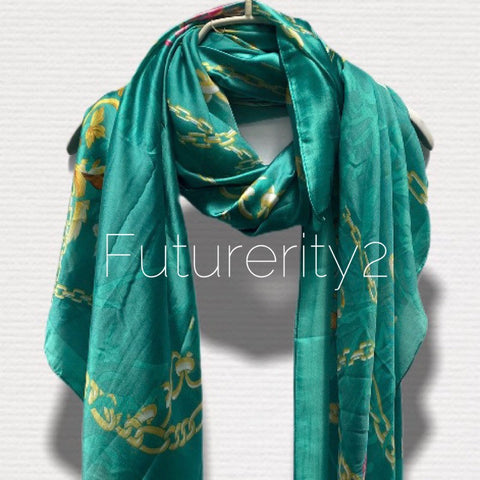Chains Pattern Metallic Teal Green  Silk Scarf/Spring Summer Autumn Scarf/Women Scarves/Gifts For Mom/Gifts For Her Birthday/Christmas Gifts