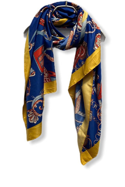 Vintage Inspired Chain & Tassels Print With Yellow Trim Blue Silk Scarf/Spring Summer Scarf/Scarves Women/Gifts For Her/Gifts For Mom