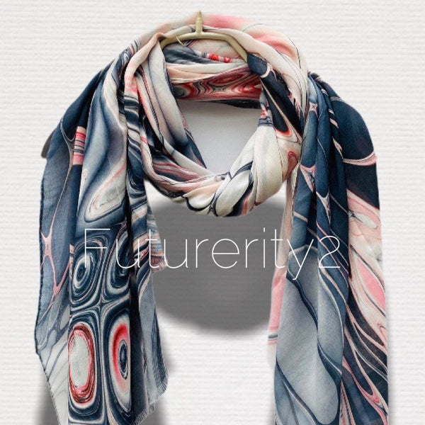Abstract Liquid Pattern Pink Grey Light Weight Cashmere Scarf