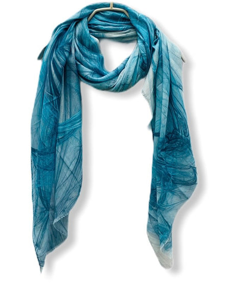 Abstract Smoke Pattern Blue Cashmere Scarf/Spring Summer Autumn Scarf/Gifts for Mom/Gifts For Her/Scarves Women/Birthday Gifts