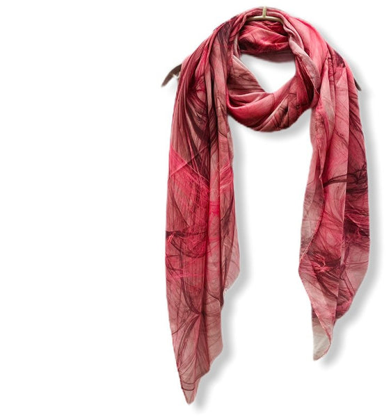 Abstract Smoke Pattern Pink Light Weight Cashmere Scarf