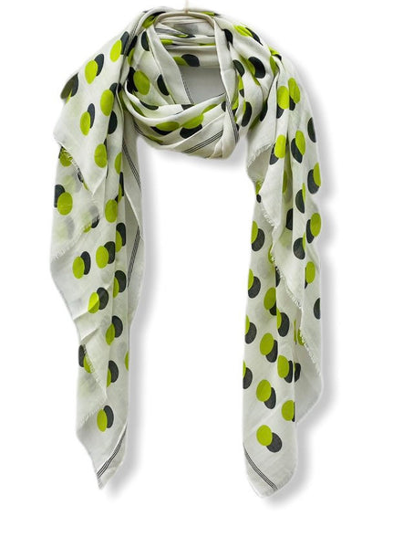 Green Polka Dots With Shadow White Cotton Scarf/Spring Summer Scarf/Gifts For Her/Scarves Women/Gifts For Mom/Birthday Gifts/Christmas Gifts