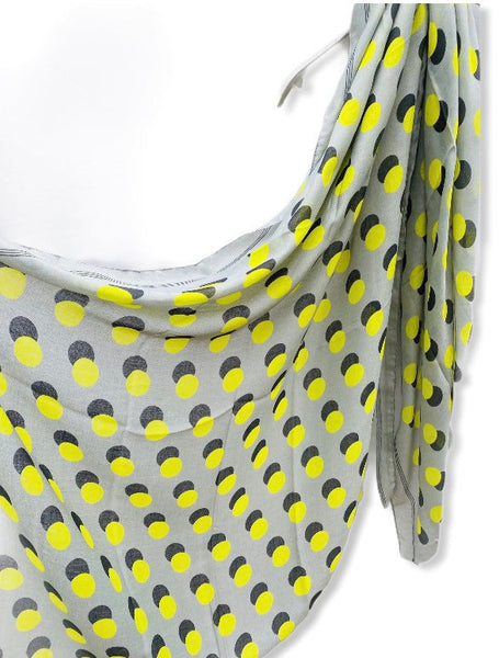 Green Polka Dots With Shadow Grey Cotton Scarf