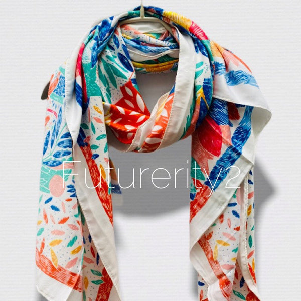 Sketched Tropical Flowers Silk Cotton With Orange Trim Off White Scarf/Spring Summer Scarf/Gifts For Her/Gifts For Mom/Scarves Women