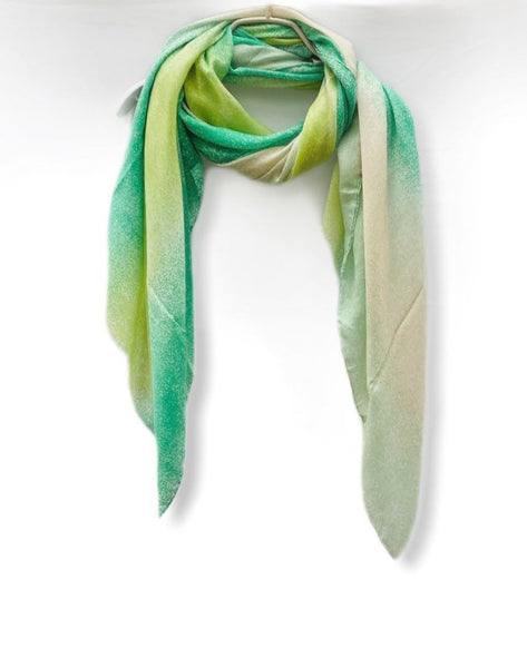 Plain Two Toned Green Beige Cotton Scarf
