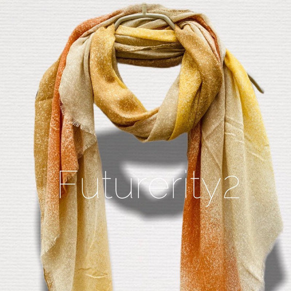Plain Two Toned Beige Cotton Scarf