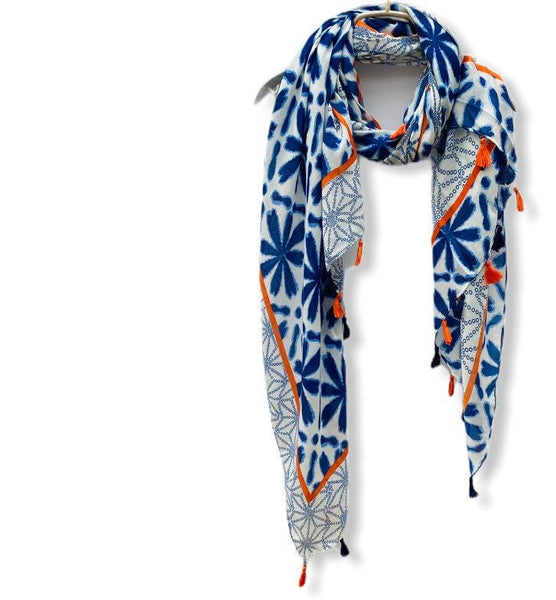 Geometric Flowers Pattern With Orange Tassels Blue Cotton Scarf/Spring Summer Scarf/Women Scarves/Gifts For Mom/Gifts For Her/Birthday Gifts