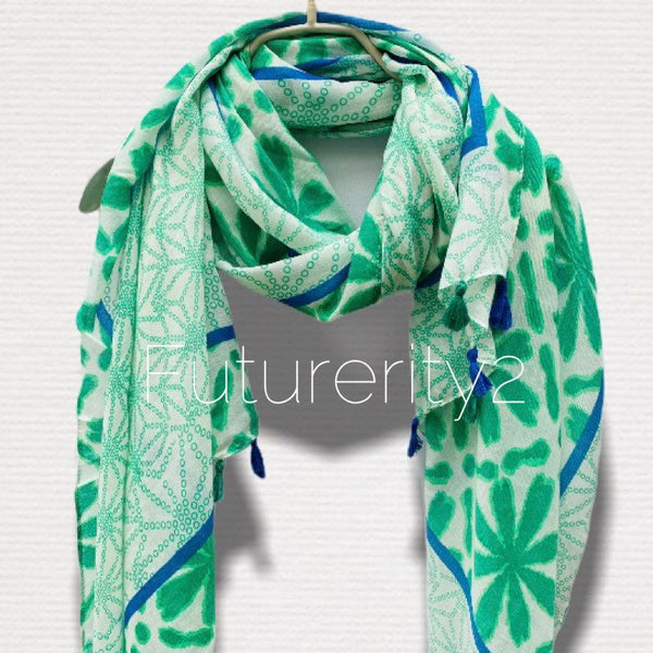 Geometric Flowers Pattern With Blue Tassels Green Cotton Scarf/Spring Summer Scarf/Women Scarves/Gifts For Mom/Gifts For Her/Birthday Gifts