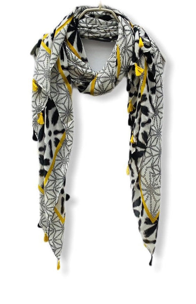 Geometric Flowers Pattern With Yellow Tassels Black Cotton Scarf/Spring Summer Scarf/Women Scarves/Gifts For Mom/Gifts For Her/Birthday Gift