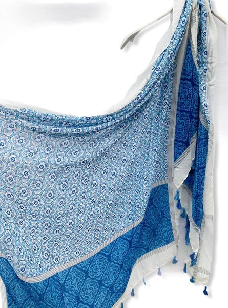 Balinese Pattern Inspired With Tassels Blue Cotton Scarf