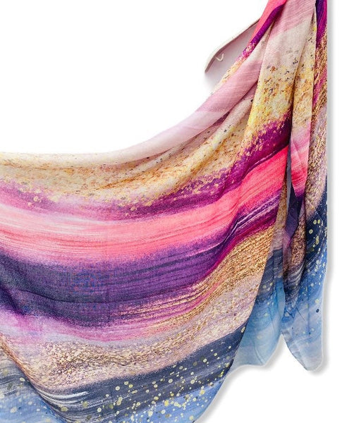 Large Brush Strokes Pink Blue Cashmere Scarf/Women Scarf/Spring Summer Autumn Scarf/Gifts For Mother/Gifts For Her Birthday