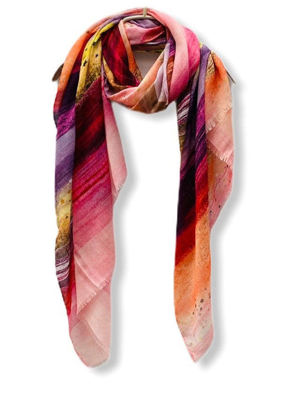 Large Brush Strokes Pink Purple Cashmere Scarf/Women Scarf/Spring Summer Autumn Scarf/Gifts For Mother/Gifts For Her Birthday