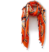 Geomatic Ikat Pattern With Tassels Orange Cotton Scarf/Women Scarf/Spring Summer Autumn Scarf/Bohemian Scarf/Gifts For Mom/Gifts For Her