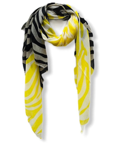 Yellow Black Zebra Pattern White Cotton Scarf/Spring Summer Autumn Scarf/Gifts For Mom/Scarf Women/Gifts For Her Birthday/Christmas Gifts