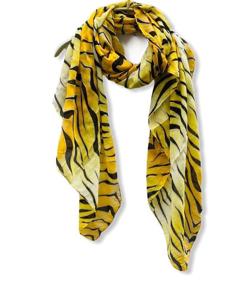Zebra Print With Gold Accents Yellow Cotton Scarf/Spring Summer Autumn Scarf/Gifts For Her/Gifts For Mother/Scarves For Women/Christmas Gift